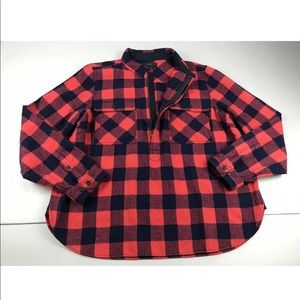 J Crew Red Buffalo Check Plaid Shirt Jacket Zip XL